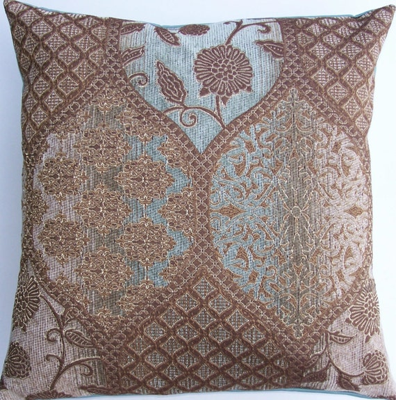 Light Blue And Brown Decorative Pillows : Brown and Robins Egg Blue Throw Pillow Cover Light Brown and