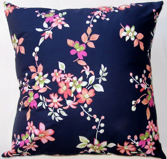 Navy Throw Pillows For Bed : Navy Blue Throw Pillow Cover with Pink Cherry Blossoms 18 x