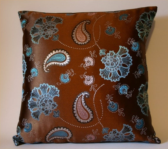 Items similar to Brown Throw Pillow Cover with Turquoise and Pink Paisleys and Flowers ...