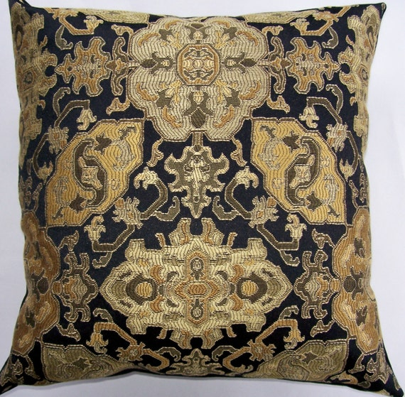 black and gold pillow cover by sassypillows on etsy. Black Bedroom Furniture Sets. Home Design Ideas