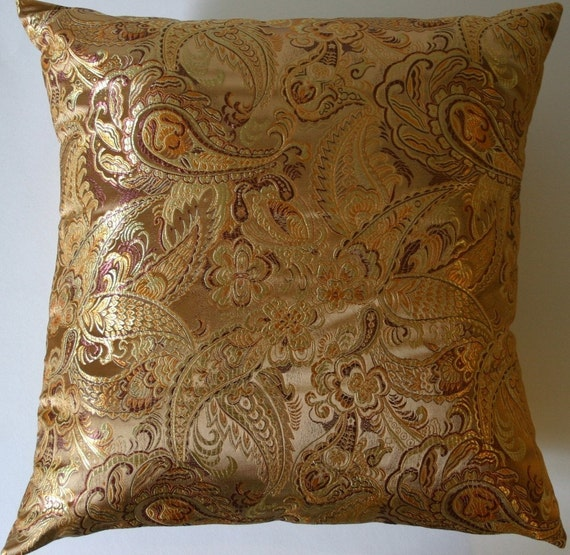 Items Similar To Gold Pillow Cover   Paisley Brocade Cushion Cover   16 X  16 On Etsy