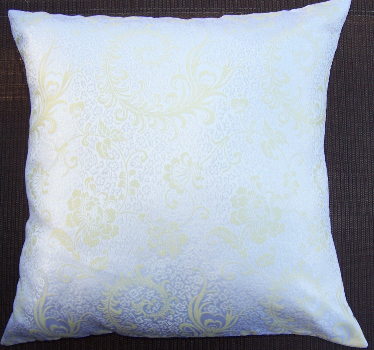 White Gold Throw Pillow : White and Gold Throw Pillow Cover White Satin Brocade