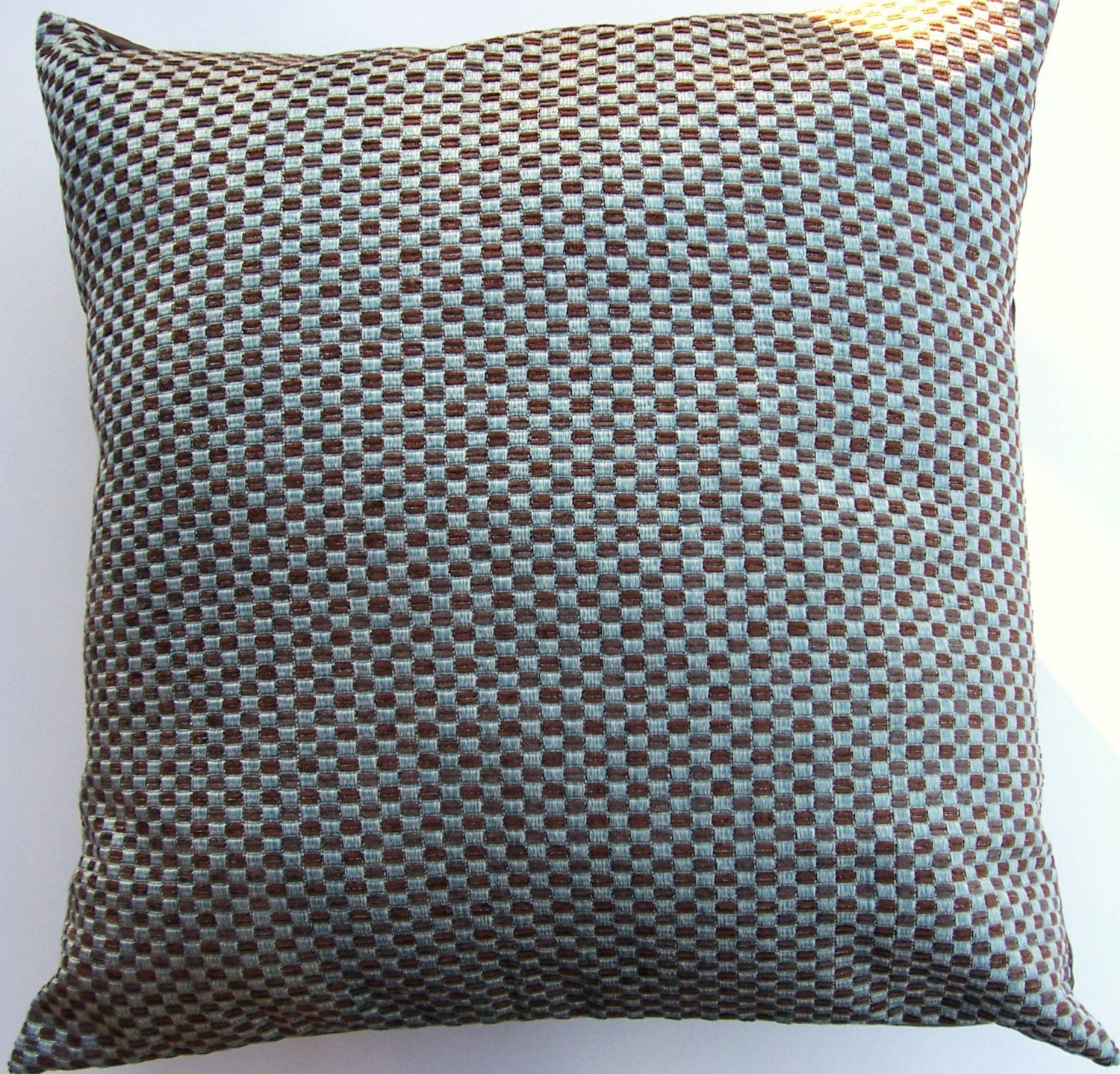 Spa Blue and Brown Throw Pillow Cover Woven Cushion Cover