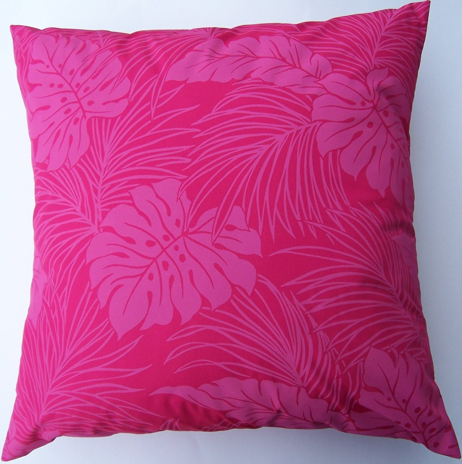 Hot Pink Throw Pillow Cover Tropical Leaves Cushion Cover