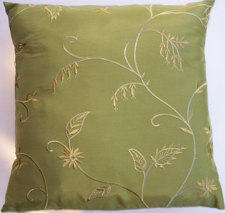 Green Throw Pillows Etsy : Green Throw Pillow Cover with Gold Fuschias Silky Green
