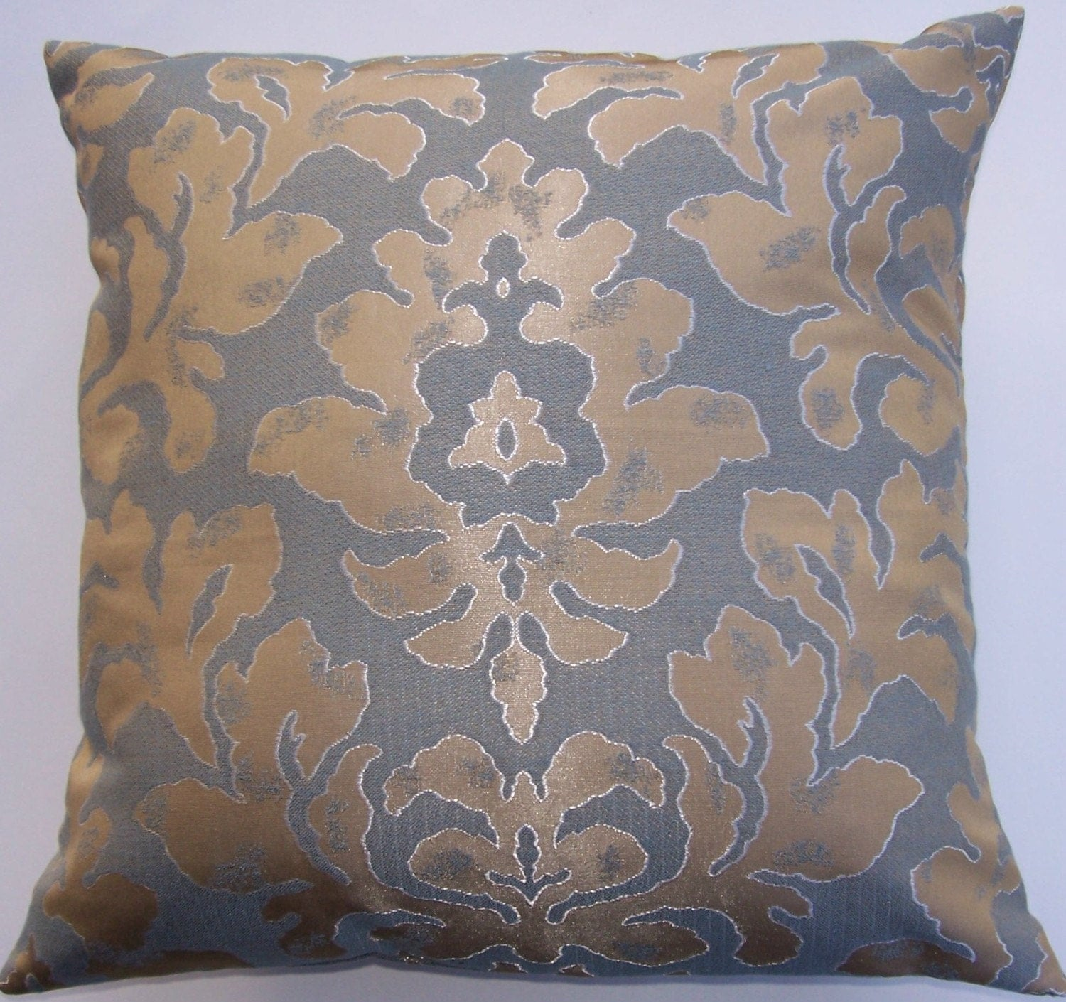 Silver and Gold Damask Throw Pillow Cover 16 x 16
