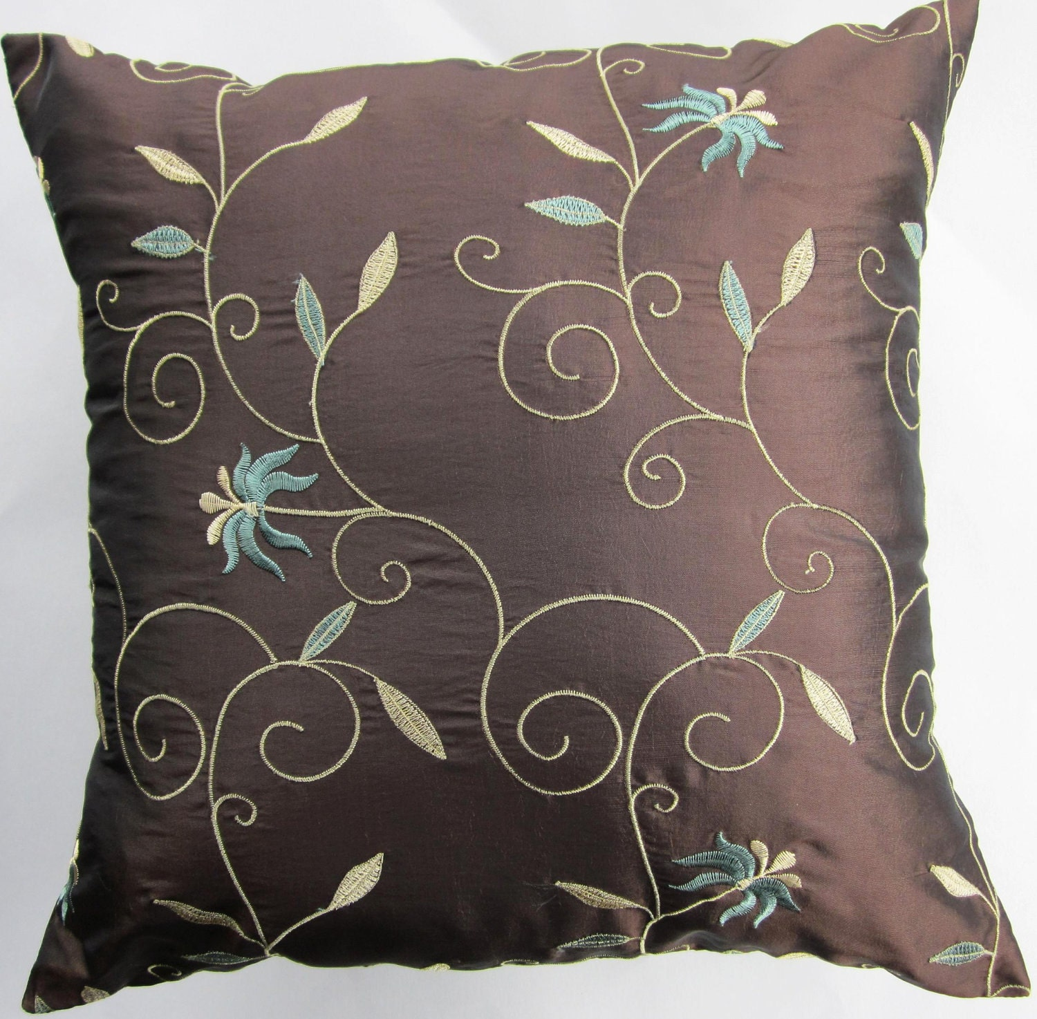 Throw Pillow Covers Brown : Brown Pillow Cover Teal on Chocolate Brown Throw Pillow