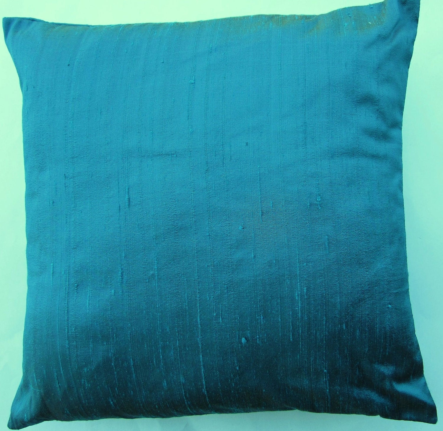 Peacock Blue Throw Pillow : Turquoise Throw Pillow Silk Peacock Blue Cushion Cover 16