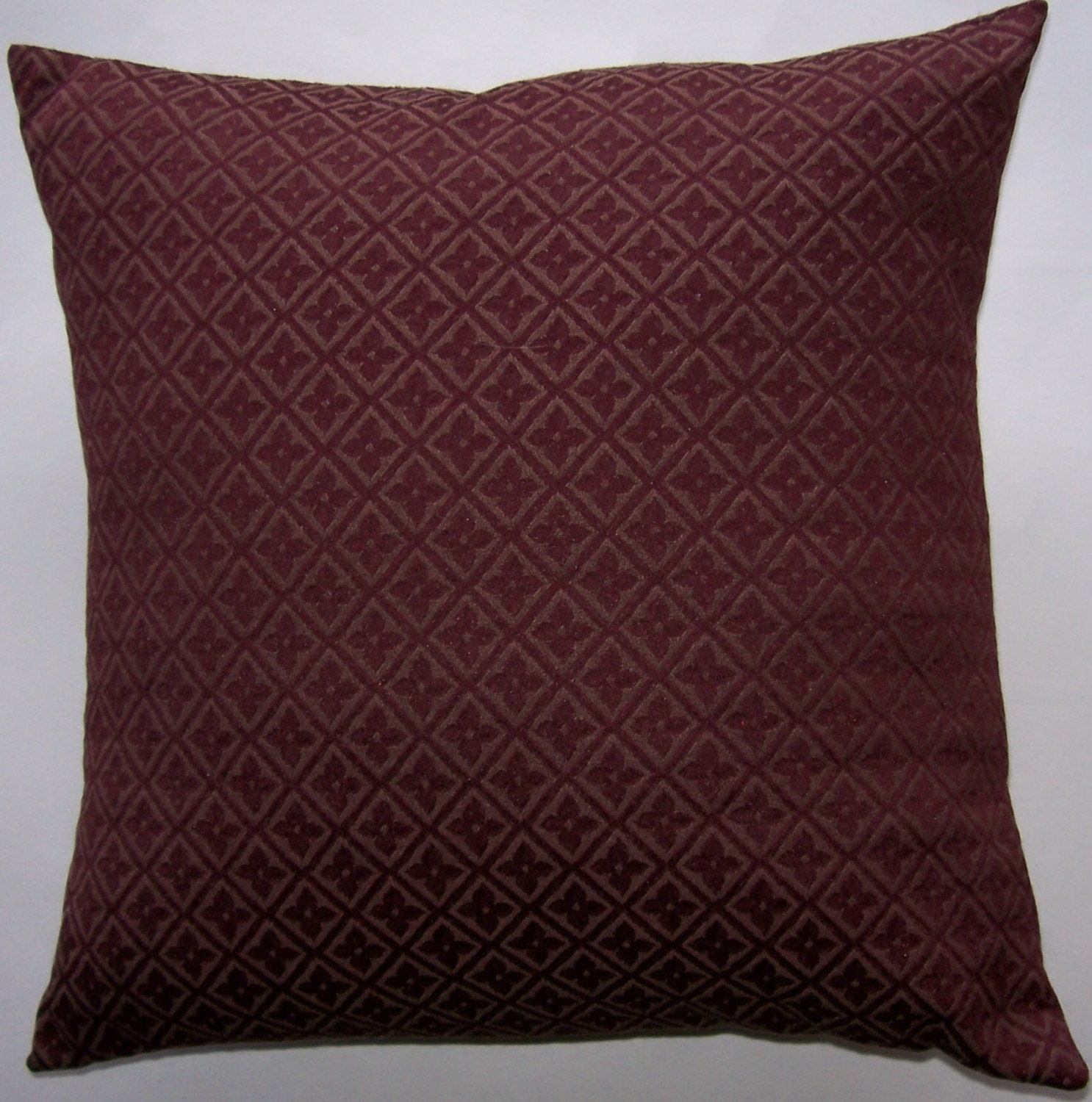 Burgundy Throw Pillow Cover Wine Diamonds and Flowers 16
