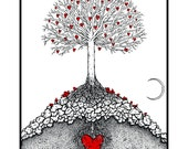 The Great Tree.  5x7 Greeting card heart print by seth.