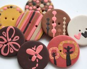 Granny - Handmade polymer clay buttons (8)