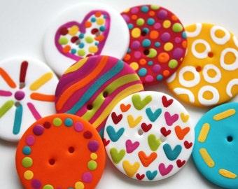Teen - Handmade Polymer Clay Buttons (8)