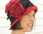 Flapper Cloche Hat - Organic Fabric Hat -  Travel Hat - Red and Black - Charlotte