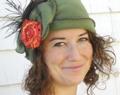 Flapper Polar Fleece Headband - Madeline- Moss, Orange French Ribbon Rose