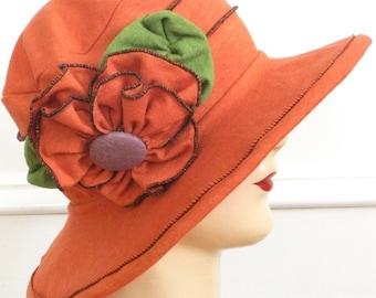 Organic Sun Hat - Ladies Travel Hat - Edwardian Style - Orange - Traveling Mabel