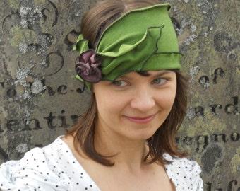 Flapper Headband - Organic Hemp Jersey - Apple Green - Twenties Heaband - Madeline