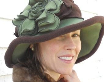 Ladies  Polar Fleece Hat,  Edwardian Style, Moss Green and Brown, Charlotte