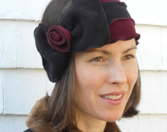 Flapper Striped Polar Fleece Headband - Bowdette- Burgundy Black