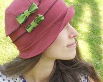 Organic Cloche Hat - Organic Cotton and Hemp Jersey - Packable - Burgundy - Emma Rose