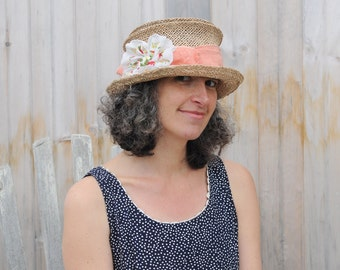 Straw Mad Hatter Sun Hat - Vintage Handkerchied Flower - Red Linen Band - Lilly