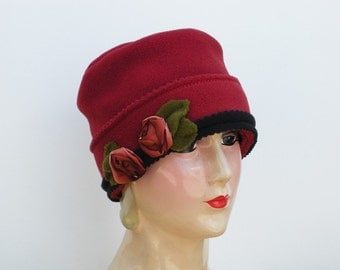 Ladies Fleece Hat - Warm Winter Hat - Flapper Style Tuque - French Ribbon Roses - Paprika - Sophie