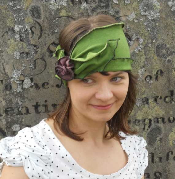 Flapper Headband - Organic Hemp Jersey - Apple Green - Twenties Heaband - Madeline