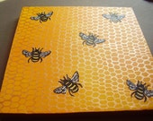 ON SALE Busy Bees original 10x10 canvas painting Copper Black Yellow