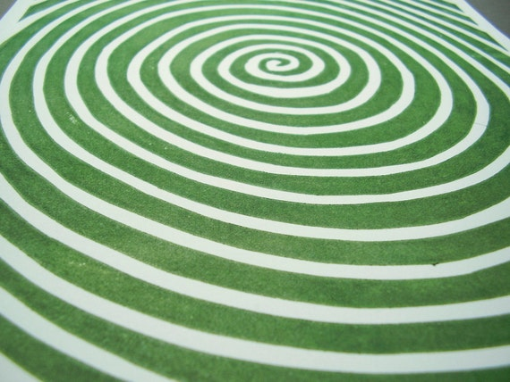 Soul Spiral - Green - a hand pulled linocut