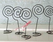 Handmade Antique Wire Swirl Photo or Place Card Holders - set of 5