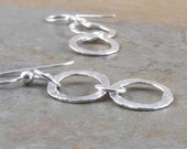 Fine Silver Hammered Ring Earrings