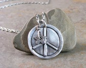 Handcrafted Sterling Silver Peace Sign Necklace