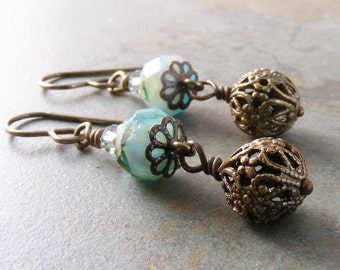 Blue Czech Glass and Filigree Brass Earrings