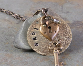 Skeleton Key Hand Stamped Love Necklace