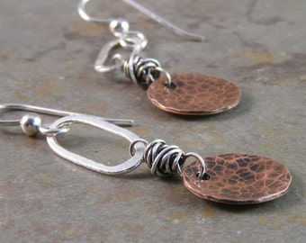 Organic Hammered Copper and Fine Silver Earrings