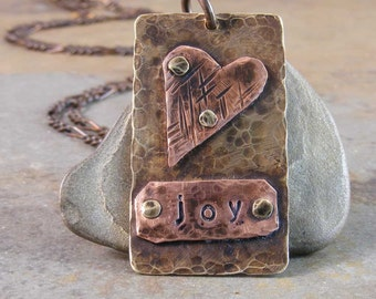 Hand Stamped Brass and Copper Joy Heart Necklace
