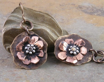 Hand Forged Copper and Brass Organic Flower Earrings