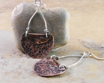 Organic Hammered Copper and Sterling Silver Earrings