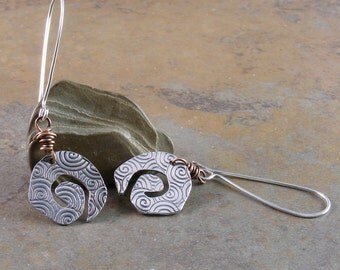 Sterling Silver and Copper Wrap Earrings