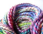 handspun wool yarn .. 56 meters, 62 yards, 2 ply bulky rainbow .. rainbow rolls 1