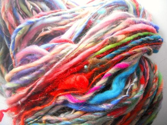 wool spinning handspun yarn .. 92 mtr or 100 yds rainbow art yarn .. tiger salad