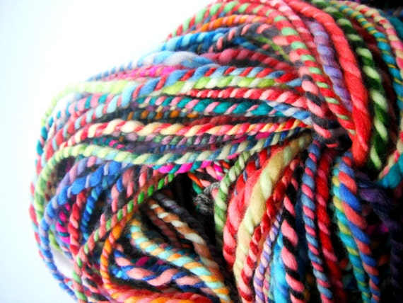 handspun wool yarn rainbow .. 78 meters, 85 yards, 2 ply bulky rainbow .. big rainbow 1
