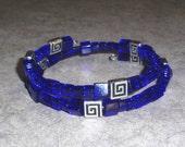 SALE - Cobalt blue square bead memory wire bracelet