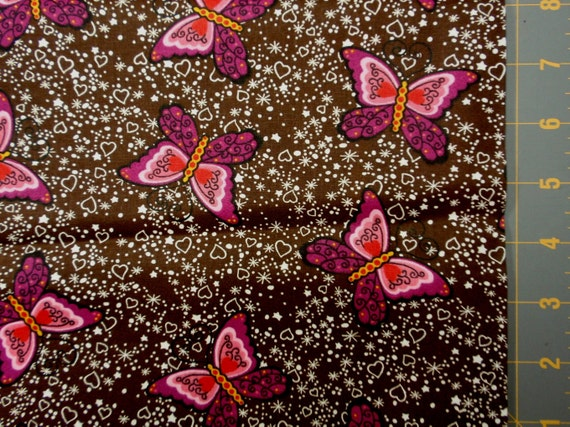 Pink brown butterfly fabric - 1 yard - small hearts