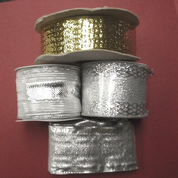 Ribbon Destash - Silver Gold Wired Mesh