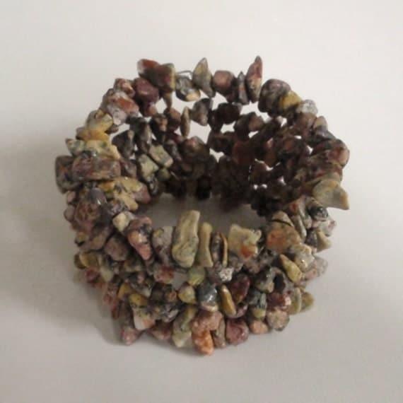 Jasper chip bead memory wire bracelet