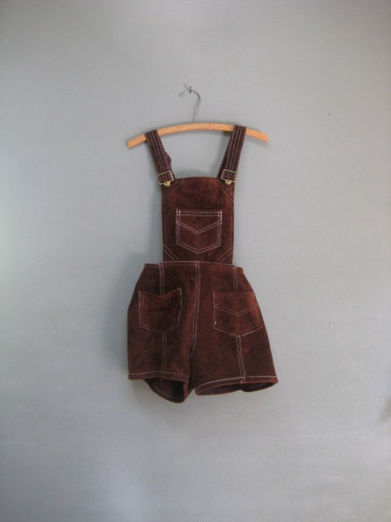 Vintage Leather Romper / Shorts / Overalls