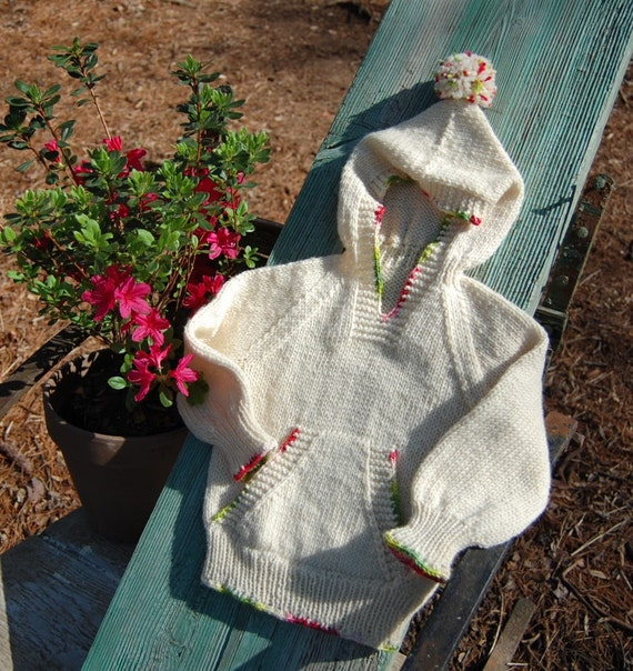 Hand knit childs hooded sweater