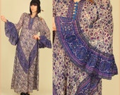 RESERVED for Seraphina ViNtAgE 60's India Floral Gypsy Cotton Voile Hippie Maxi Dress