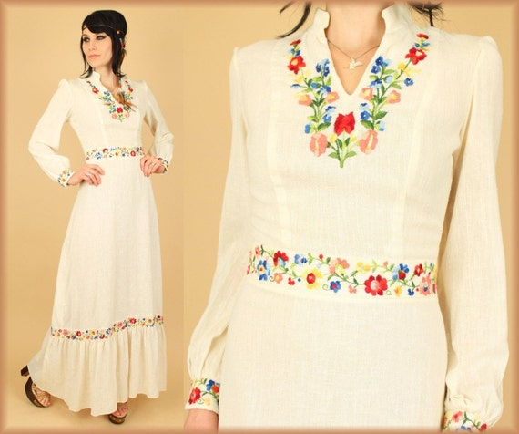 VtG 60's 70's Guazy Cotton Floral Embroidered Maxi Dress