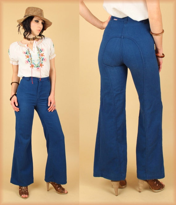 ViNtAgE 70's DITTO Blue High Waisted Bell Bottom Jeans